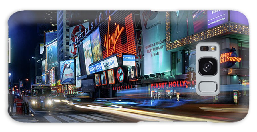 Nightscape Galaxy S8 Case featuring the photograph Times Square With Light Trail by Ger Determan