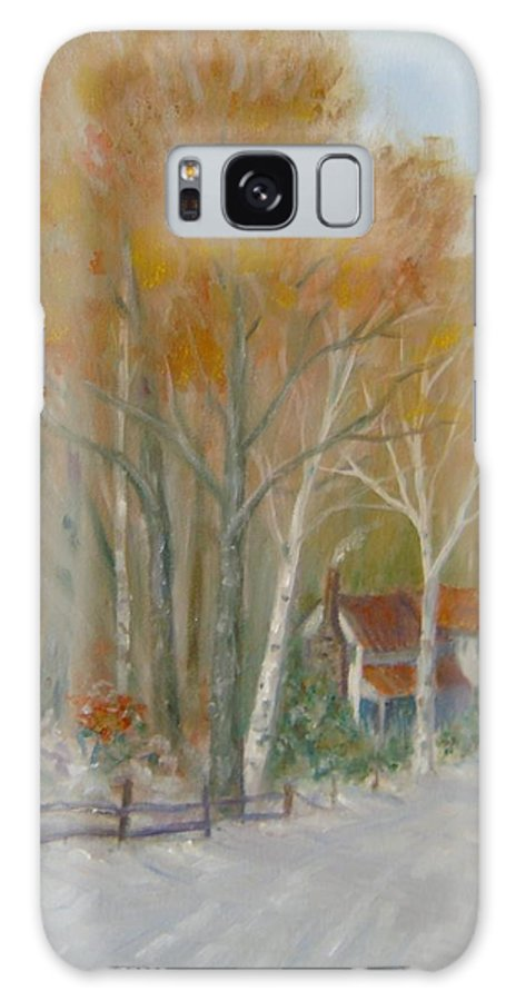 Country Road; House; Snow Galaxy Case featuring the painting To Grandma's House by Ben Kiger
