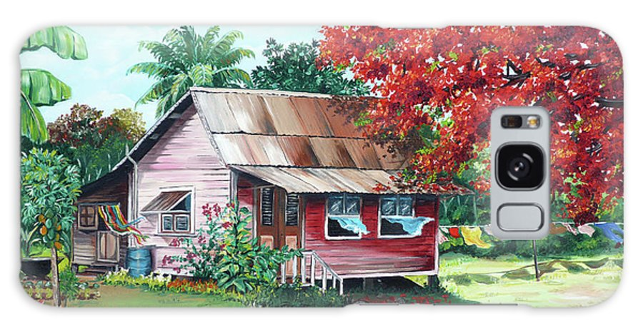 House Painting Galaxy Case featuring the painting Tobago Country House by Karin Dawn Kelshall- Best