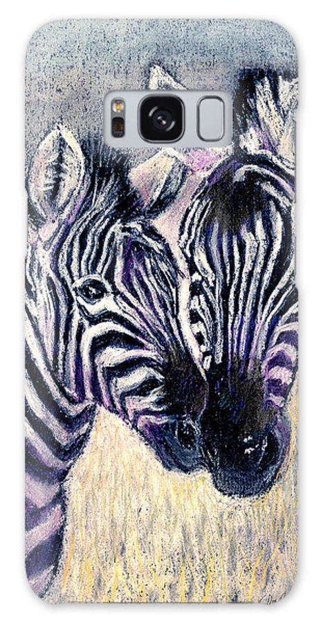 Zebras Galaxy S8 Case featuring the pastel Together by Arline Wagner