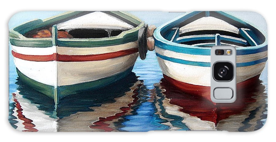 Seascape Sea Boat Reflection Water Ocean Galaxy S8 Case featuring the painting Together by Natalia Tejera