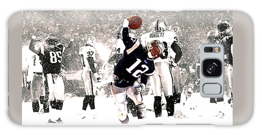 Tom Brady Galaxy Case featuring the mixed media Tom Brady Touchdown Spike by Brian Reaves