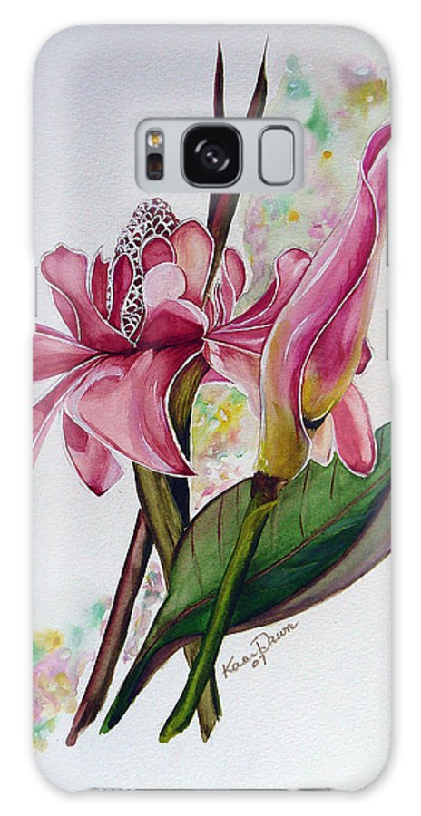 Flower Painting Floral Painting Botanical Painting Flowering Ginger. Galaxy Case featuring the painting Torch Ginger Lily by Karin Dawn Kelshall- Best