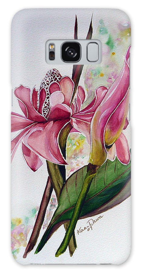 Flower Painting Floral Painting Botanical Painting Flowering Ginger. Galaxy S8 Case featuring the painting Torch Ginger Lily by Karin Dawn Kelshall- Best