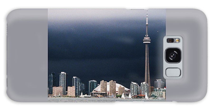 Toronto Art Iconic Skyline High Rises Cn Tower Sailboats Waterfront Landmarks Outdoors Travel Harbor Approaching Storm Canada Thunder Clouds Wood Print Metal Frame Canvas Print Poster Print Available On Shower Curtains Greeting Cards Tote Bags T Shirts Pouches Spiral Notebooks And Mugs Galaxy S8 Case featuring the photograph Toronto Skyline by Marcus Dagan