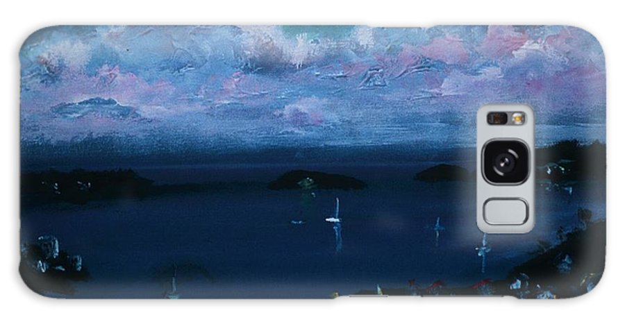 Dark Blue Skies Galaxy S8 Case featuring the painting Tortola Clouds At Hill Top by Andre Francis