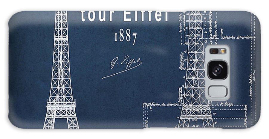 tour Eiffel Galaxy S8 Case featuring the photograph Tour Eiffel Engineering Blueprint by Daniel Hagerman