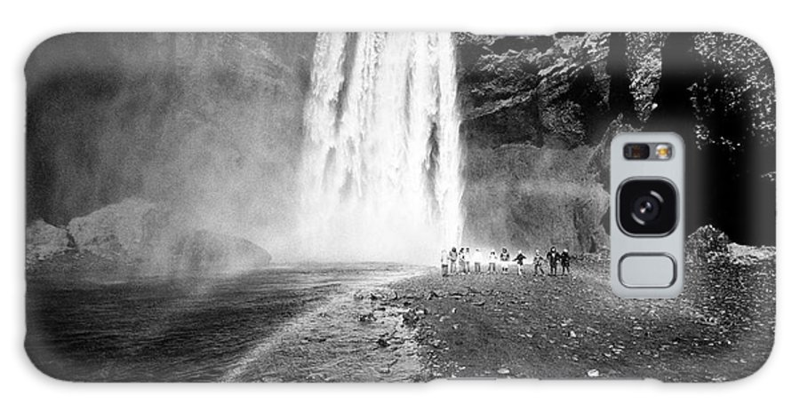 Skogafoss Galaxy S8 Case featuring the photograph Tourists And Double Rainbow At Skogafoss Waterfall In Iceland by Joe Fox