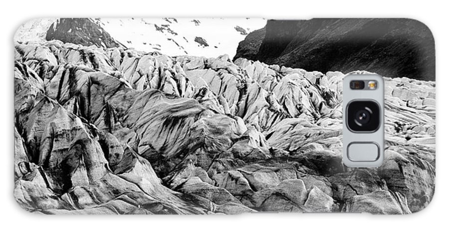 Skaftafell Galaxy S8 Case featuring the photograph tourists at ash covered Skaftafell glacier and end moraine Vatnajokull national park in Iceland by Joe Fox
