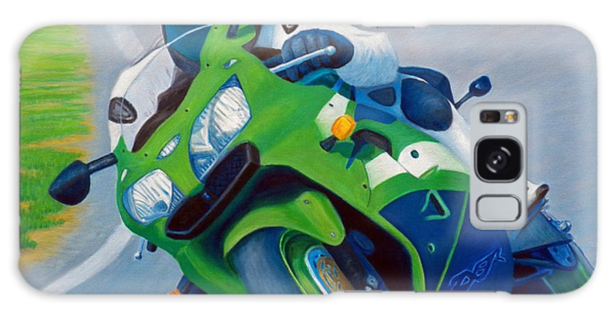 Motorcycle Galaxy S8 Case featuring the painting Track Day - Kawasaki Zx9 by Brian Commerford