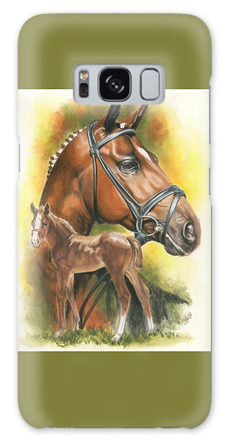 Jumper Hunter Galaxy S8 Case featuring the mixed media Trakehner by Barbara Keith
