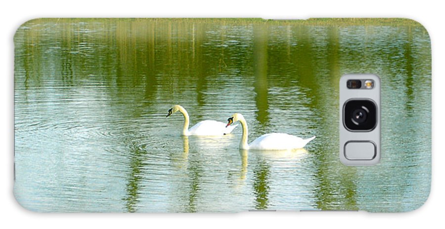 Swans Galaxy S8 Case featuring the photograph Tranquil Reflection Swans by Susan Baker
