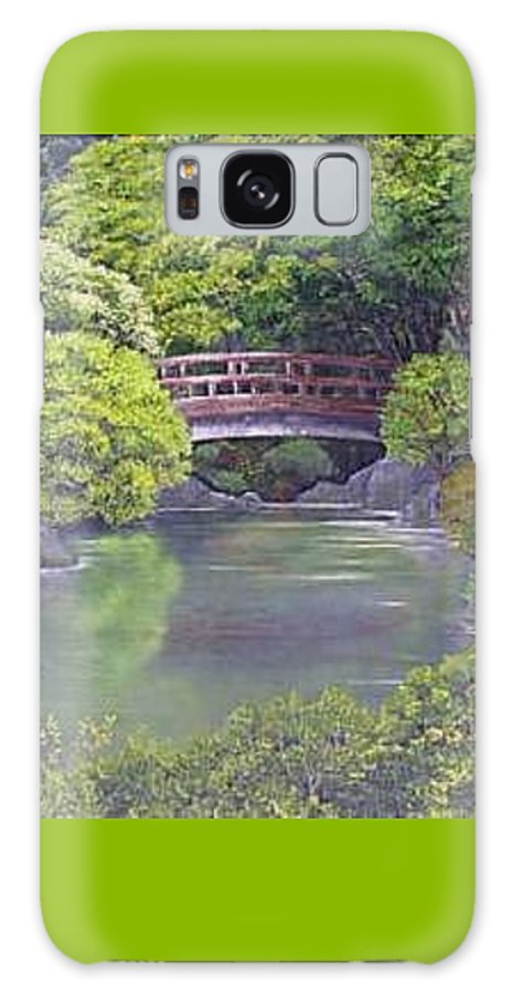 This Peaceful Scene Is An Artist's Rendition Of The Japanese Gardens Galaxy Case featuring the painting Tranquility by Darla Boljat