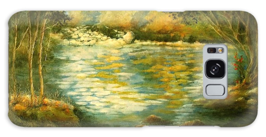 Canvas Print Landscape;river;landscape; Water; Trees; Flowing River; Rocks; Nature; Lake Galaxy S8 Case featuring the painting Tranquility by Madeleine Holzberg