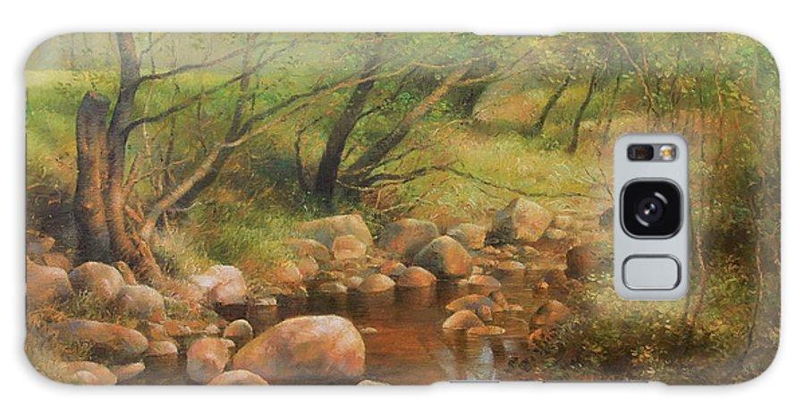 Landscape Galaxy S8 Case featuring the painting Transcarpatien Landscape by Arthur Braginsky
