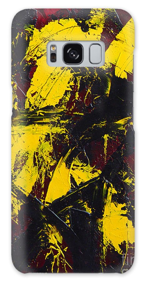 Abstract Galaxy S8 Case featuring the painting Transitions With Yelllow And Black by Dean Triolo