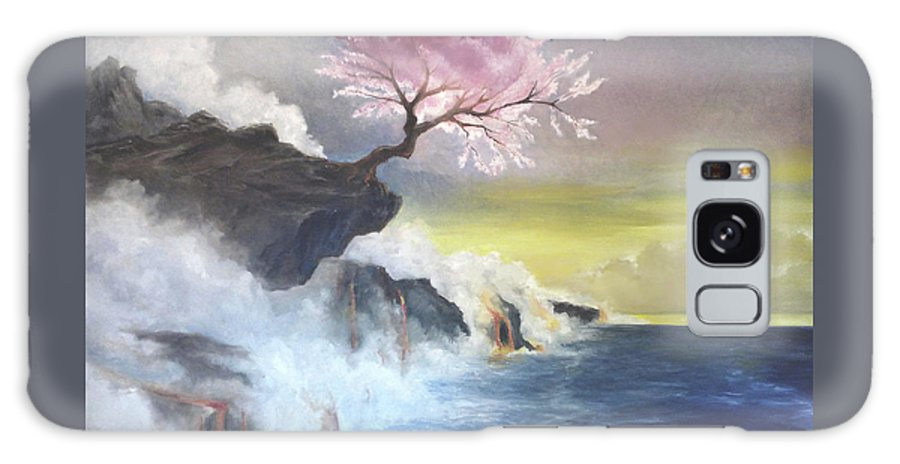 Cherry Tree Galaxy S8 Case featuring the painting Tree On Cliff by Giuseppe Costantino