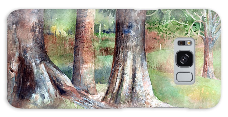 Tree Galaxy Case featuring the painting Tree Trunks by Arline Wagner