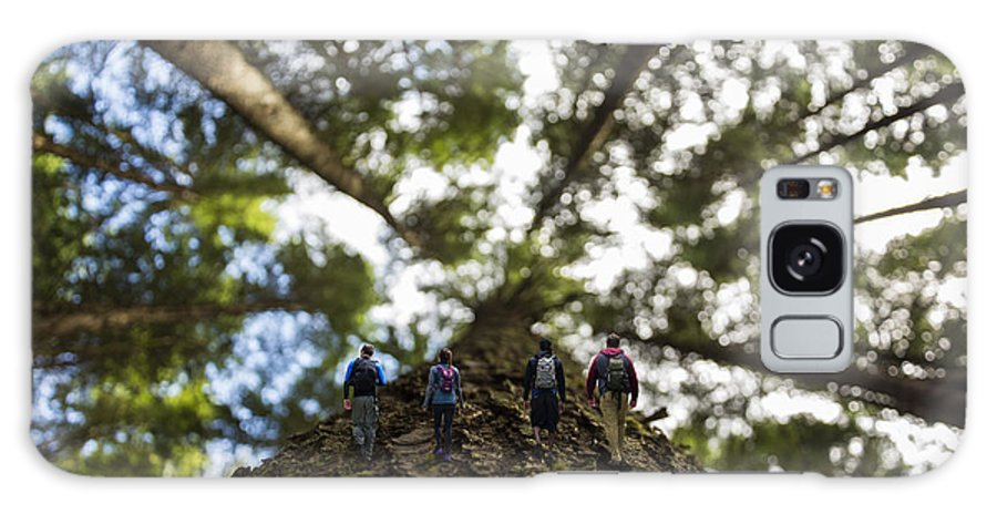 Tilt-shift Effect Composite Image Hikers Walking Tree Climbing Outdoors Explore View Views Quest Live Authentic Outbound Wilderness Digital Art Galaxy S8 Case featuring the photograph Tree Walkers by Pelo Blanco Photo