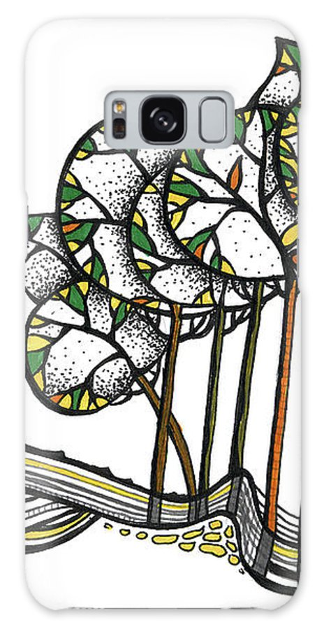 Trees Galaxy S8 Case featuring the drawing Treeland by Aniko Hencz