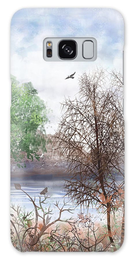 Tree Galaxy S8 Case featuring the digital art Trees By The Lake by Arline Wagner