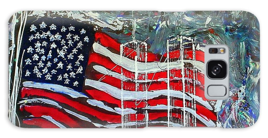 American Flag Galaxy Case featuring the mixed media Tribute by J R Seymour