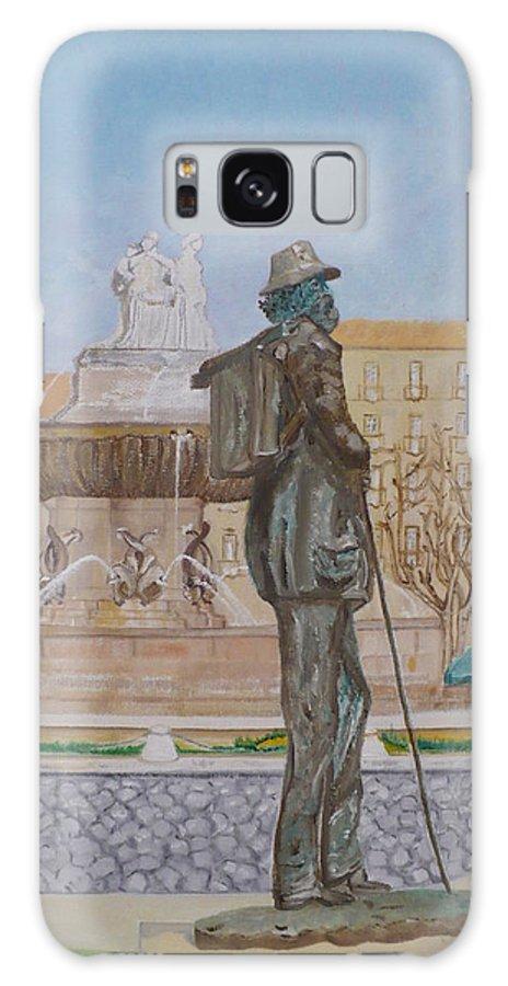 Fountain La Rotonde Galaxy S8 Case featuring the painting Tribute To Cezanne by Coco de la garrigue