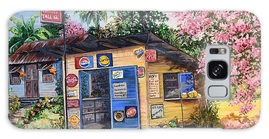 Trinidad And Tobago Shop Galaxy Case featuring the painting Trinidad Country Parlour by Karin Dawn Kelshall- Best