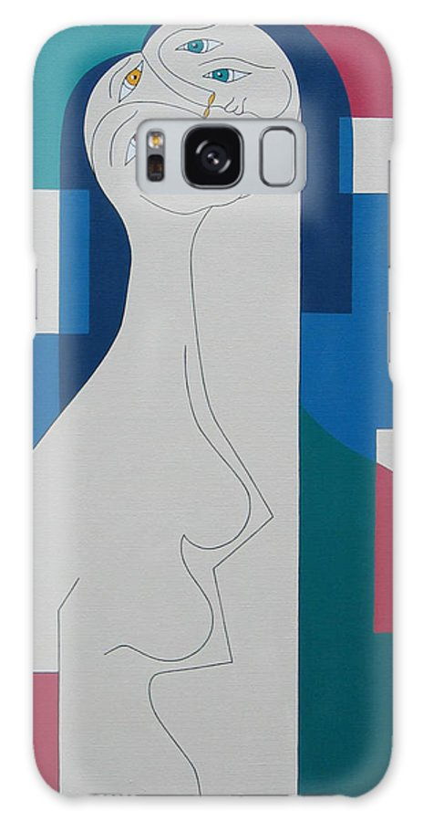 Modern Women Bleu Green Red Humor Galaxy Case featuring the painting Trio by Hildegarde Handsaeme