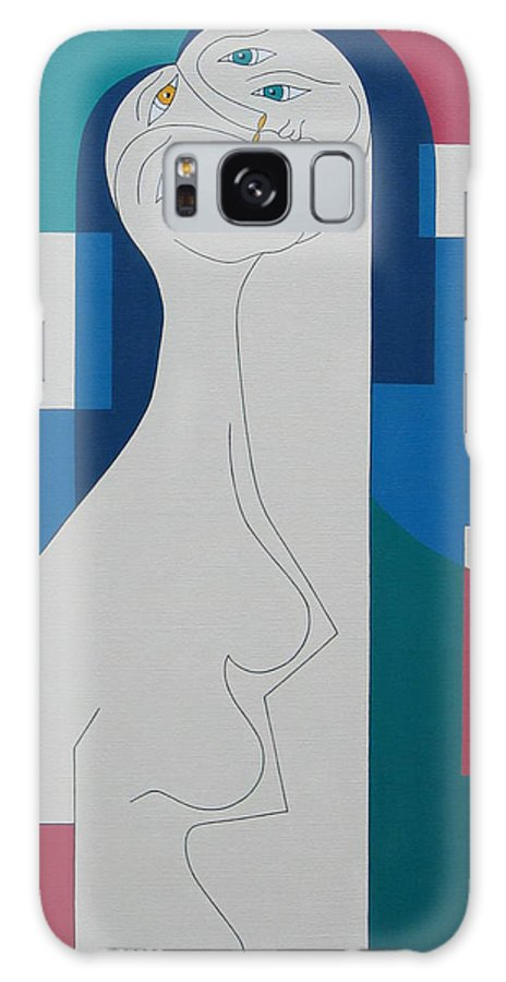 Modern Women Bleu Green Red Humor Galaxy S8 Case featuring the painting Trio by Hildegarde Handsaeme