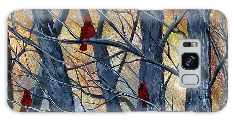 Cardinal Galaxy Case featuring the painting Trio by Tami Booher