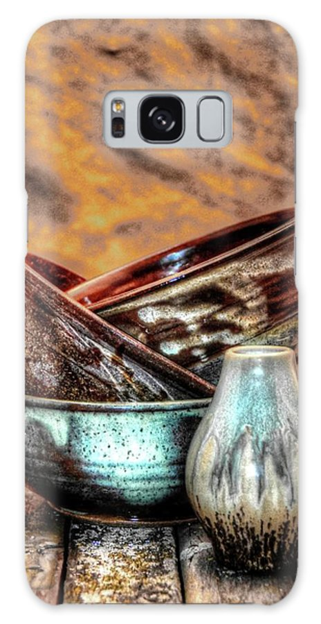 Pottery Galaxy S8 Case featuring the photograph Trio With Vase by Dawn Dasharion