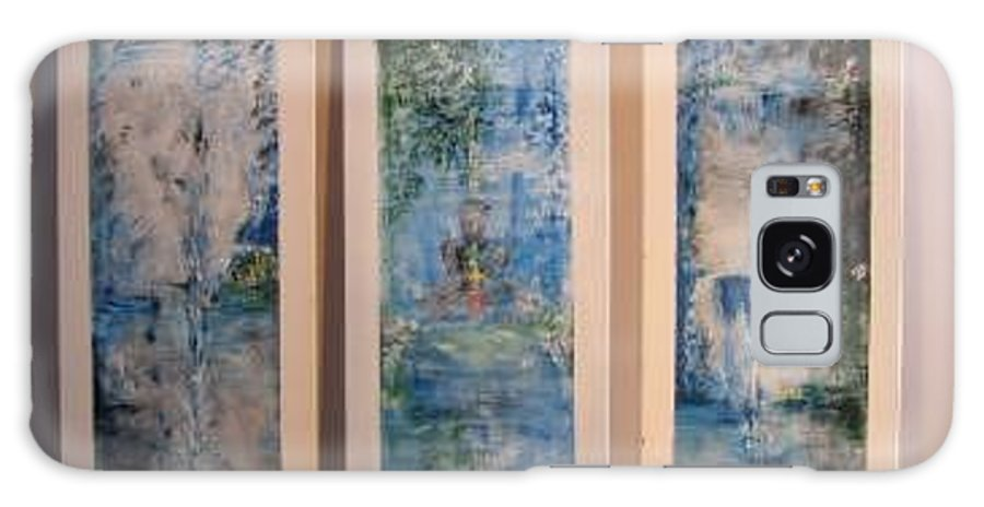 Meditation Galaxy S8 Case featuring the painting Triptych SPIRITUAL MEDITATION by Lizzy Forrester