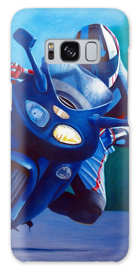 Motorcycle Galaxy S8 Case featuring the painting Triumph Sprint - Franklin Canyon by Brian Commerford