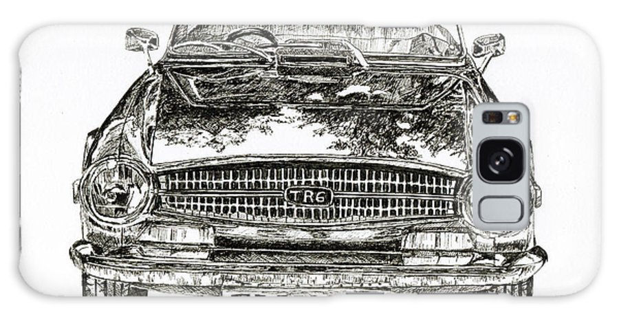 Classic Car Galaxy Case featuring the drawing Triumph Tr6 by Callan Art
