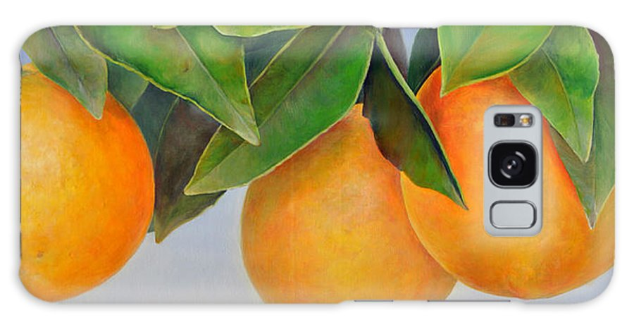 Floral Painting Galaxy S8 Case featuring the painting Trois Oranges by Muriel Dolemieux