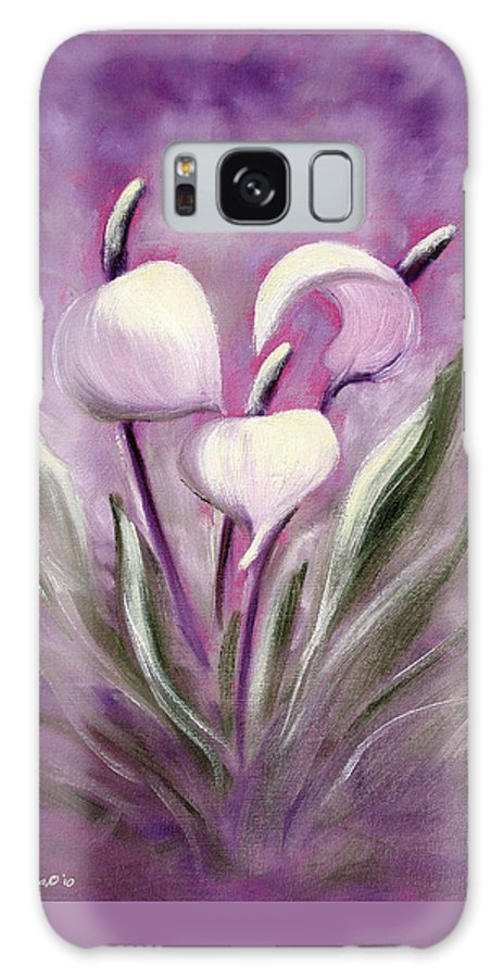 Tropical Galaxy S8 Case featuring the painting Tropical Flowers In Purple by Gina De Gorna