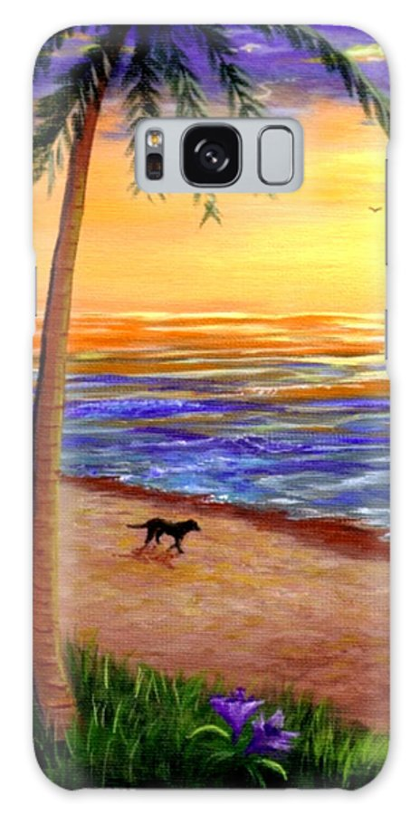 Tropical Galaxy S8 Case featuring the painting Tropical Sunset by Lisa Adams