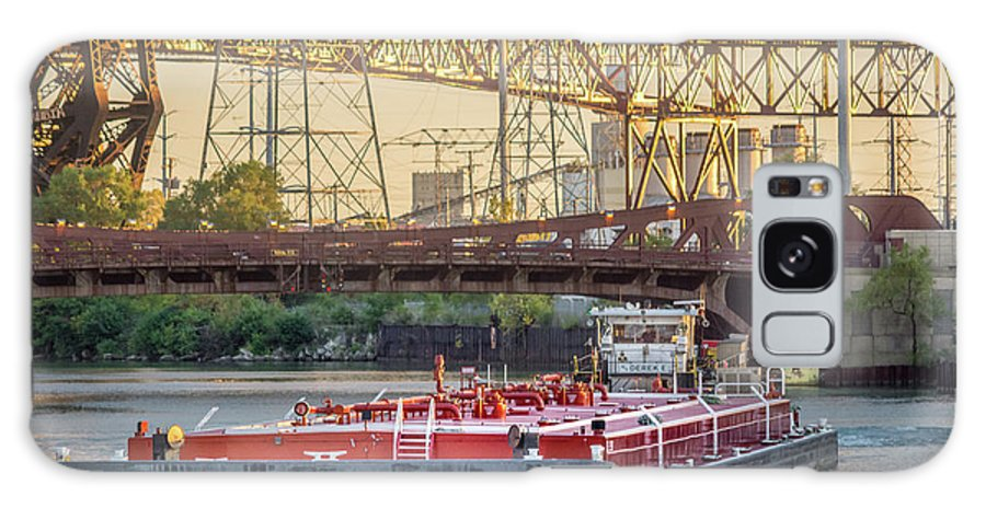 92nd Street Bridge Galaxy S8 Case featuring the photograph Tug Derek E And Barge On The Calumet River by Christine Douglas