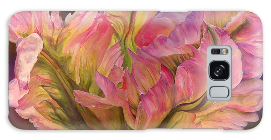 Floral Painting Galaxy Case featuring the painting Tulipe Explosee by Muriel Dolemieux