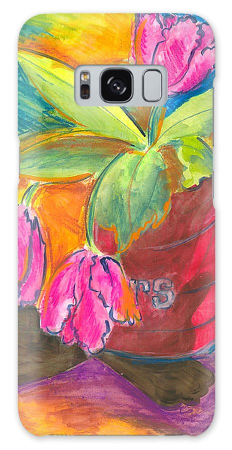 Flowers Galaxy S8 Case featuring the painting Tulips In Can by Jean Blackmer