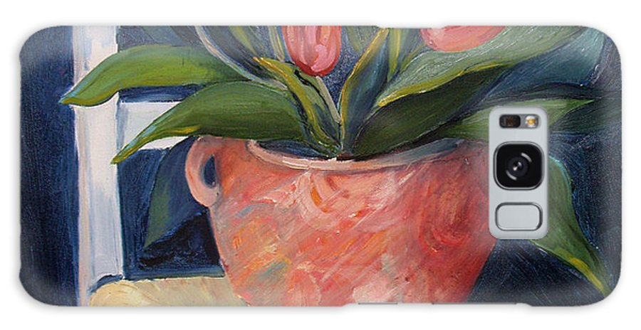 Still Life Galaxy S8 Case featuring the painting Tulips On A Chair by Diana Davenport
