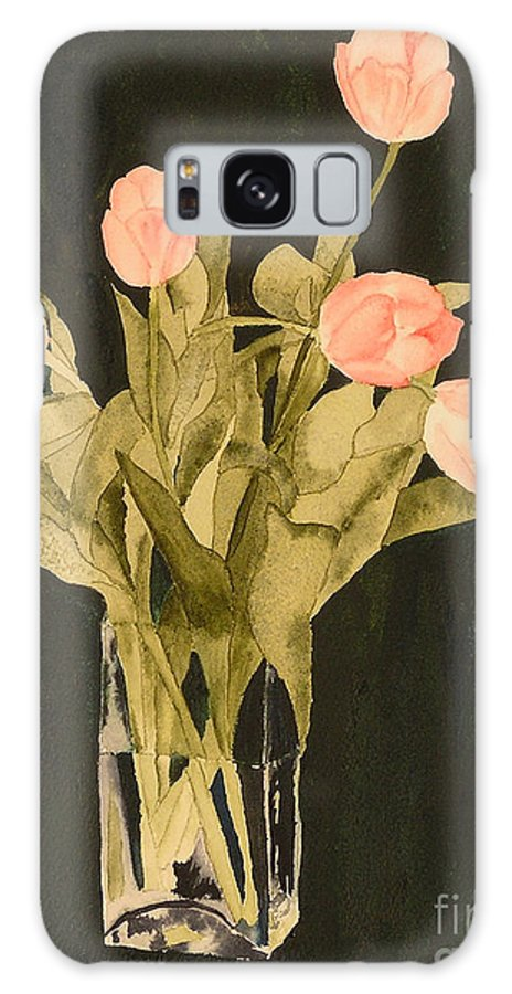 Tulips Galaxy S8 Case featuring the painting Tulips On Velvet by Louise Magno