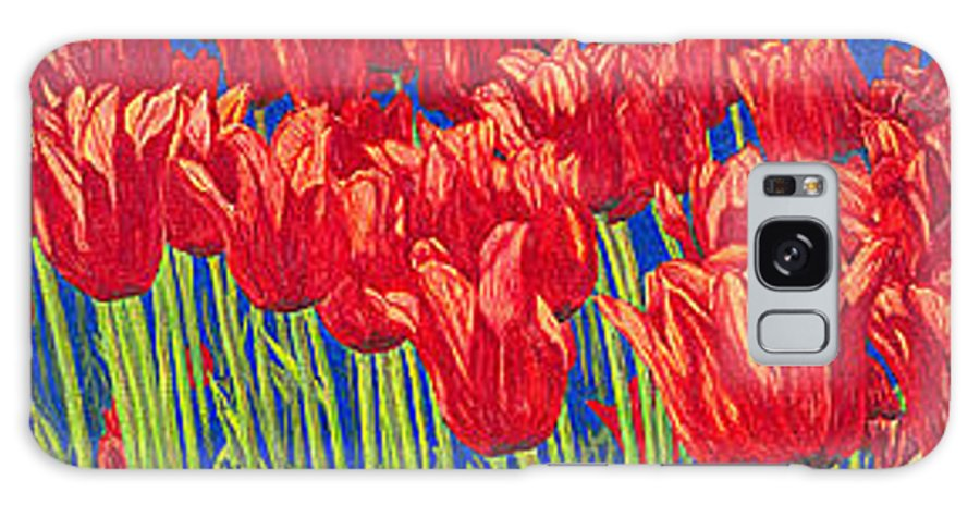 Tulips Galaxy S8 Case featuring the drawing Tulips Tulip Flowers Fine Art Print Giclee High Quality Exceptional Color Garden Nature Botanical by Baslee Troutman