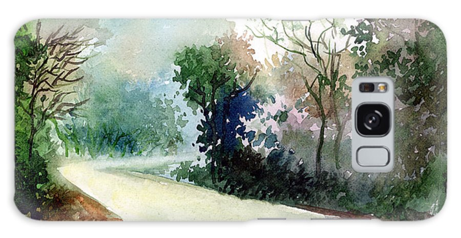 Landscape Water Color Nature Greenery Light Pathway Galaxy S8 Case featuring the painting Turn Right by Anil Nene