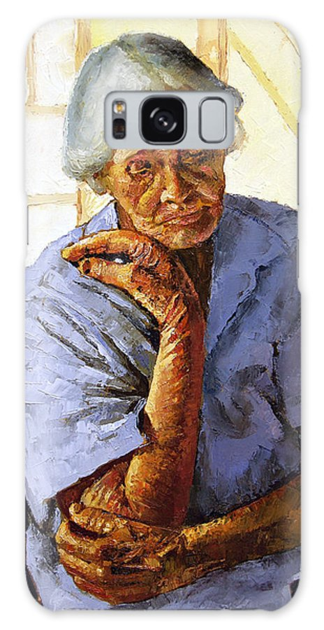 Old Woman Galaxy S8 Case featuring the painting Turning Inward by John Lautermilch