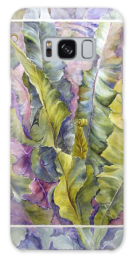 Ferns;floral; Galaxy Case featuring the painting Turns Of Ferns by Lois Mountz
