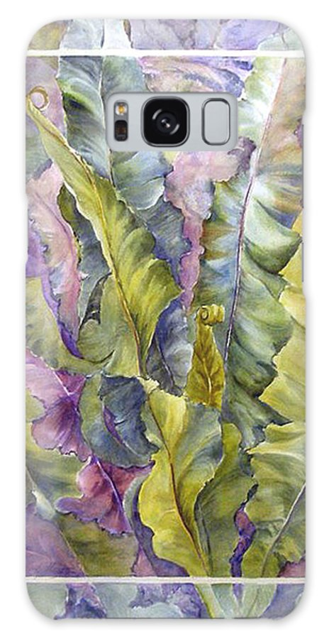 Ferns;floral; Galaxy S8 Case featuring the painting Turns Of Ferns by Lois Mountz