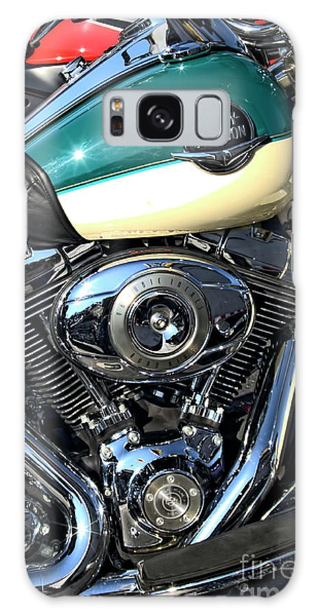 Motorcycle Art Galaxy S8 Case featuring the photograph Turquoise And White Harley Tank And Motor by Corky Willis Atlanta Photography