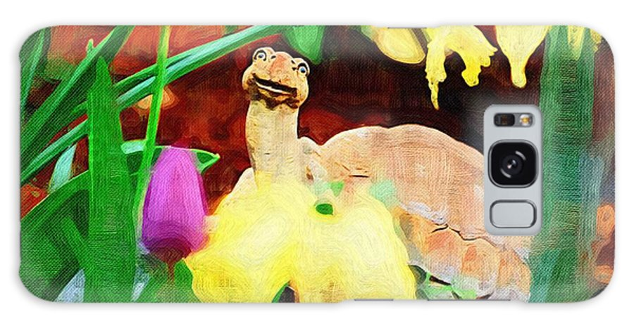 Turtle Galaxy S8 Case featuring the photograph Turtle In The Tulips by Donna Bentley